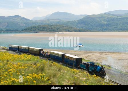 Gwynedd UK Fairbourne and Barmouth minature steam railway Mawddach river estuary 2000s HOMER SYKES - Stock Photo