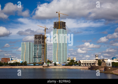 City landscape Astana capital of Kazakhstan Republic august 2007 - Stock Photo