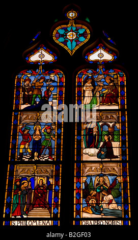 Stained glass window in Cahor, France - Stock Photo