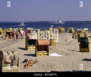 geography / travel, Germany, Schleswig-Holstein, Travemuende, beaches, beach chairs at Baltic Sea, 1980s, Additional - Stock Photo