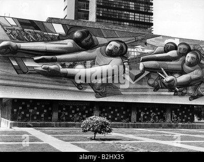 geography / travel, Mexico, Mexico City, buildings, National Autonomous University of Mexico, built: 1954, wall - Stock Photo
