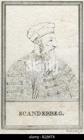 Skanderbeg (Georg Kastriota), 6.5.1405 - 17.1.1468, Albanian prince, portrait, side face, engraving, by Zuercher, - Stock Photo