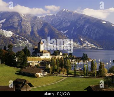 geography / travel, Switzerland, Bern, Spiez, city views, Spiez Castle, Lake Thun, Bernese Alps, Additional-Rights - Stock Photo