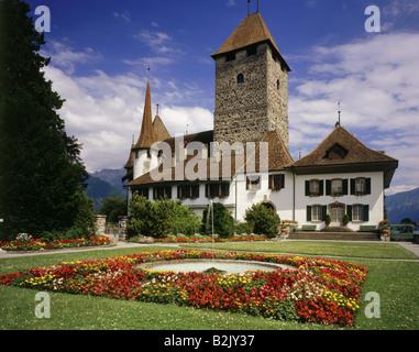 geography / travel, Switzerland, Bern, Spiez, castles, Spiez Castle, built in 10th century, exterior view, Additional - Stock Photo
