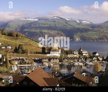 geography / travel, Switzerland, Bern, Spiez, city views, port, Lake Thun, Spiez Castle, Additional-Rights-Clearance - Stock Photo