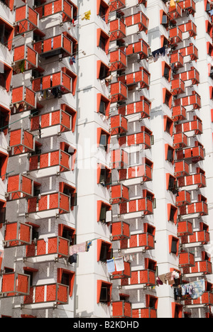 18 story red and white Selegie House, Block 9 of Stamford Estate built in 1963 by the Housing and Development Board - Stock Photo