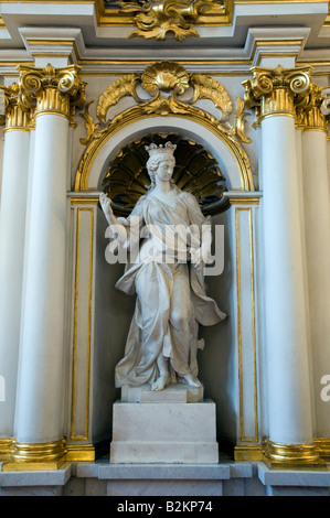 Statue on the Jordan Staircase, of the Winter Palace, State Hermitage Museum, St Petersburg, Russia - Stock Photo