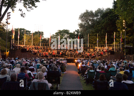 Concert in the Park, Royal Military School of Music, Kneller Hall, Twickenham, Middlesex, UK. Wednesday 30th July - Stock Photo
