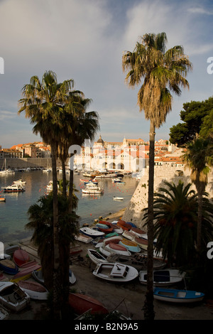 The Cathedral and Harbour Dubrovnik Croatia - Stock Photo