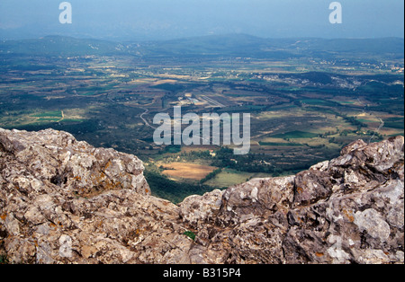View from the summit of Pic St Loup in the Languedoc-Roussillon region of southern France - Stock Photo