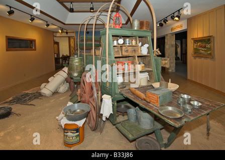 Texas Lubbock National Ranching Heritage Center Chuck Wagon exhibit - Stock Photo