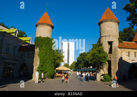 Gates to Old Town with Viru Hotel in the background in Tallinn Estonia Europe - Stock Photo