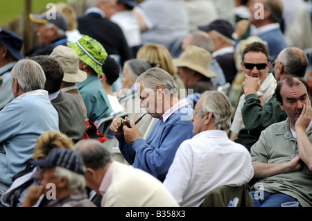 A man lights a pipe amongst a crowd watching cricket at the picturesque Arundel ground in Sussex July 2008 - Stock Photo