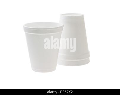 Disposable Styrofoam cups on white background - Stock Photo