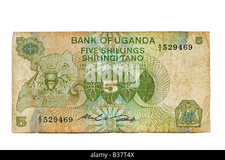 Used Bank Note, Uganda 5 Shillings, East Africa Currency from 1982 - Stock Photo