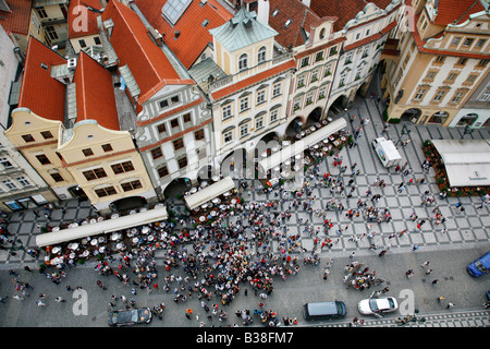 Aug 2008 - View over the Old Town hall and the city rooftops Stare Mesto Prague Czech Republic - Stock Photo