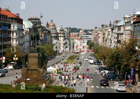 Aug 2008 - View over Wenceslas Square Nove Mesto Prague Czech Republic - Stock Photo