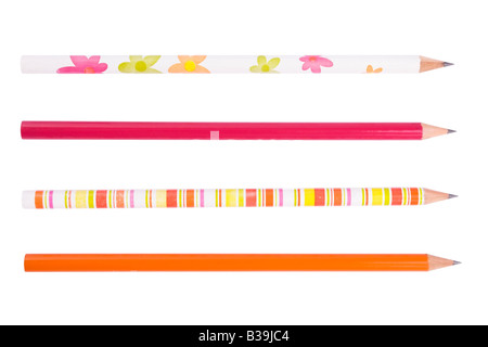 Colorful pencils collection for schoolchildren on white - Stock Photo