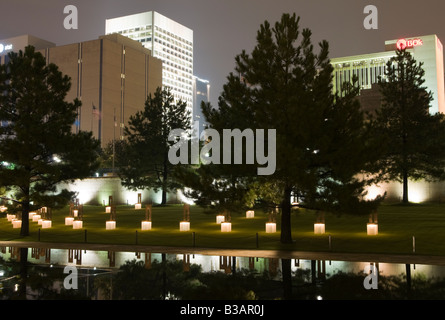 Oklahoma City Memorial and Downtown - Stock Photo