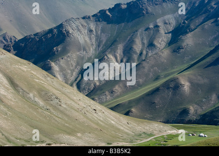 Yurts in the Valley to Tash Rabat in Kyrgyzstan - Stock Photo