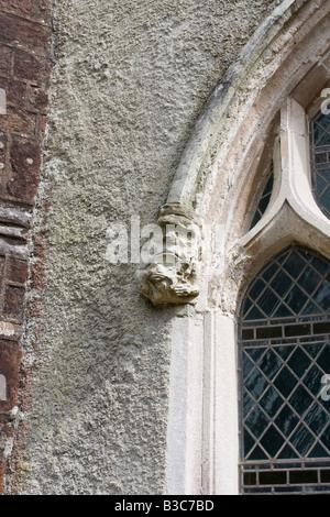 Gargoyle detail St Mary and St Gabriel, Stoke Gabriel, Devon - Stock Photo