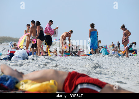 Family outing on Anastasia Beach St Augustine Florida - Stock Photo