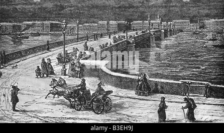geography / travel, Russia, Sankt Petersburg, bridges, Nicolai bridge over Bolchaia Neva, engraving, late 19th century, - Stock Photo
