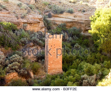 Square Tower Hovenweep National Monument Utah Square Tower Group Puebloan era village - Stock Photo
