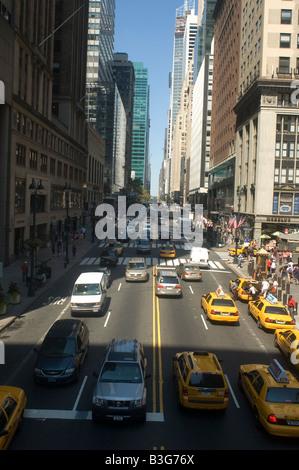 Traffic flows on East 42 street - Stock Photo