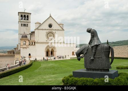 Basilica of Saint Francis Assisi with Bronze Sculpture of Saint Francis Cavalier - Stock Photo