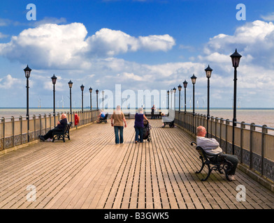 People relaxing on Skegness Pier Lincolnshire England UK - Stock Photo