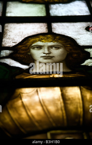 Stained glass window featuring St. George located in the Belfast City Hall. - Stock Photo