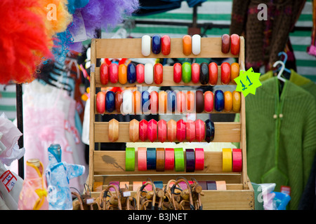Bangles on display in a market stall - Stock Photo