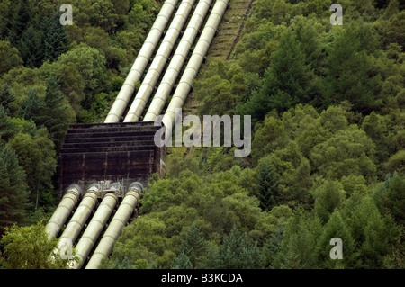 Hydro-electric PowerStation on the banks of Loch Lomond close up of pipes - Stock Photo