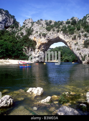 View of the Pont d'Arc, a rock archway over the Ardeche River near Vallon - Stock Photo