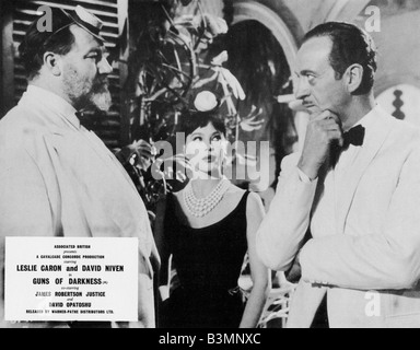 GUNS OF DARKNESS  1962 ABP film with from l: James Robertson Justice, Leslie Caron and David Niven - Stock Photo
