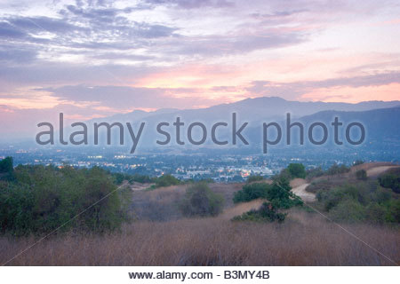 San Gabriel Valley Sunset Glendora California - Stock Photo