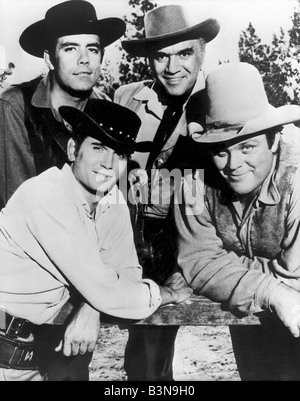 BONANZA US TV series with clockwise from top left: Michael Landon, Lorne Greene, Dan Blocker and Adam Cartwright - Stock Photo