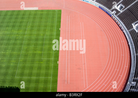 Aerial view of empty stadium Helsinki Finland - Stock Photo
