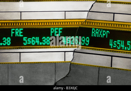 USA New York  Stock Market Data Stock Ticker Board Financial Data Downturn Market - Stock Photo