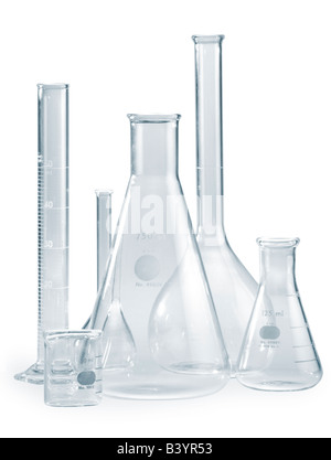 Empty glass Pyrex beakers as might be seen in a laboratory setting A clipping path is included - Stock Photo