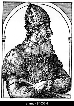 Ivan III Vasilevich 'the Great', 22.1.1440 - 27.10.1505, Grand Prince of Moscow 27.3.1462 - 27.10.1505, half length, - Stock Photo