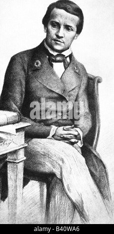 Pasteur, Louis, 27.12.1822 - 28.9.1895, French scientist, as student Ercole Normale, drawing, microbiologist, chemist, - Stock Photo