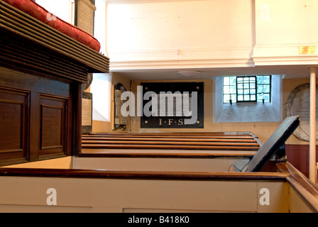 interior showing box pews of st peter's church, petersham surrey, england - Stock Photo