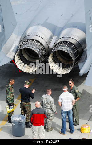 Public talking with us air force soldiers close to a jet fighter plane F-15, Elmendorf Air Force base, Anchorage, - Stock Photo