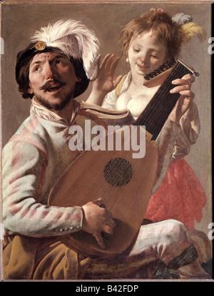 fine arts, Terbrugghen, Hendrick, (1588 - 1629), painting, 'The Duet', 1628, oil on canvas, Louvre, Paris, music, - Stock Photo
