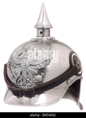 weapons/arms, protective arms, helmets, leather helmet for enlisted men, German cuirassiers, typ 1915, Pickelhaube, - Stock Photo