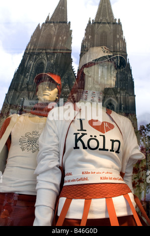 Cologne Cathedral reflected in shop window - Stock Photo