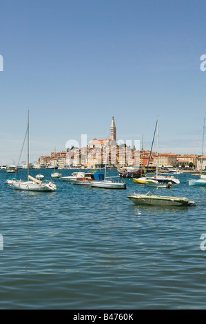 Rovinj old town and harbour - Stock Photo