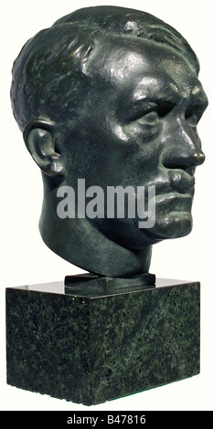 Rudolf Heß - a bronze head of Adolf Hitler., A well-modelled head with the artist's signature, 'H.M. Ley' on the - Stock Photo